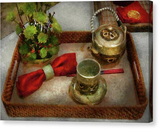 Tea Set Canvas Print - Kettle - Formal Tea Ceremony by Mike Savad