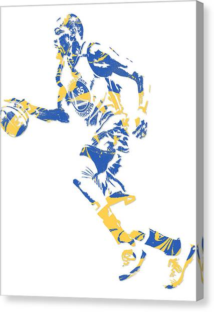 Golden State Warriors Canvas Print - Kevin Durant Golden State Warriors Pixel Art 16 by Joe Hamilton