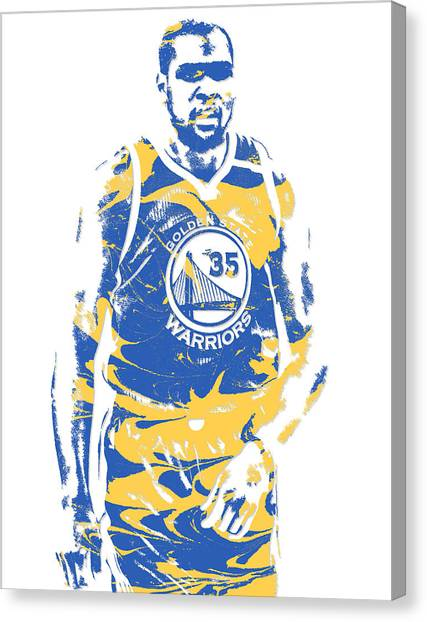 Golden State Warriors Canvas Print - Kevin Durant Golden State Warriors Pixel Art 17 by Joe Hamilton