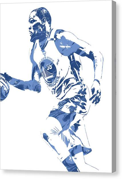 Golden State Warriors Canvas Print - Kevin Durant Golden State Warriors Pixel Art 4 by Joe Hamilton