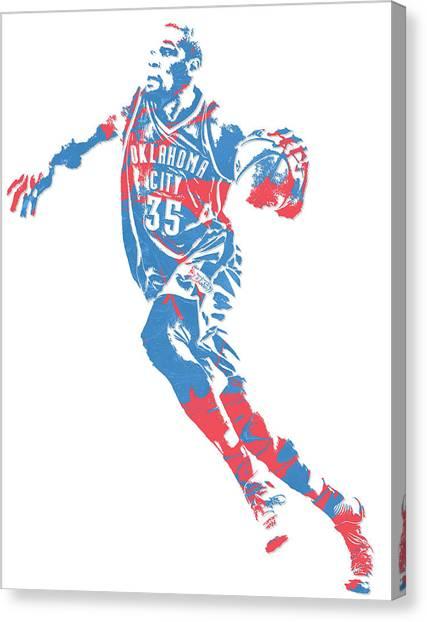 Oklahoma City Thunder Canvas Print - Kevin Durant Oklahoma City Thunder Pixel Art 5 by Joe Hamilton