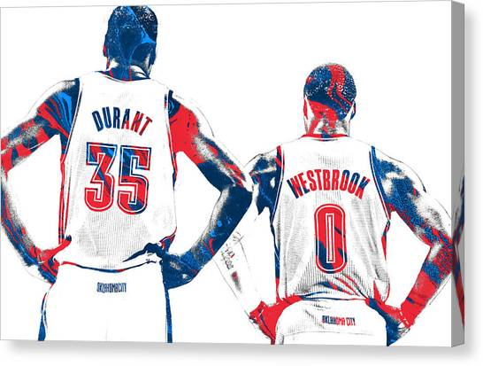 Oklahoma City Thunder Canvas Print - Kevin Durant Russell Westbrook Thunder Pixel Art by Joe Hamilton