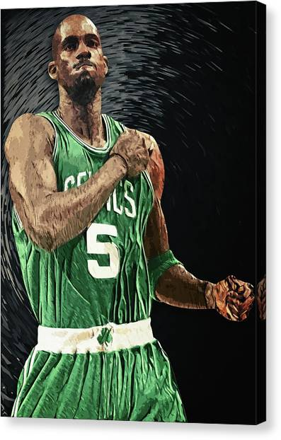 Brooklyn Nets Canvas Print - Kevin Garnett by Taylan Apukovska