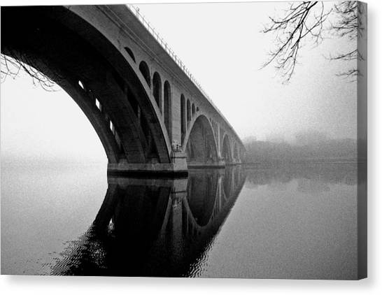 Key Bridge In Fog Canvas Print