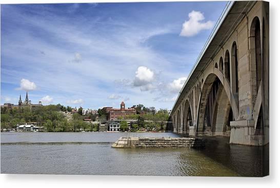 Big East Canvas Print - Key Bridge Into Georgetown by Brendan Reals