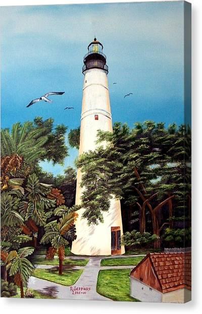 Key West Lighthouse Canvas Print by Riley Geddings