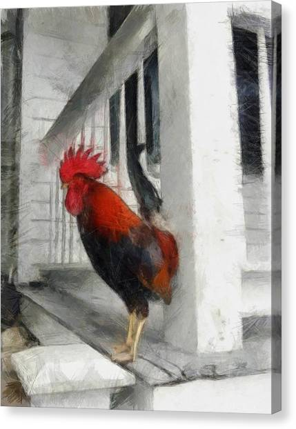 Key West Porch Rooster Canvas Print