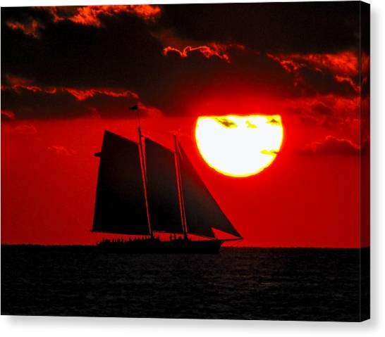 Canvas Print featuring the photograph Key West Sunset Sail Silhouette by Bob Slitzan