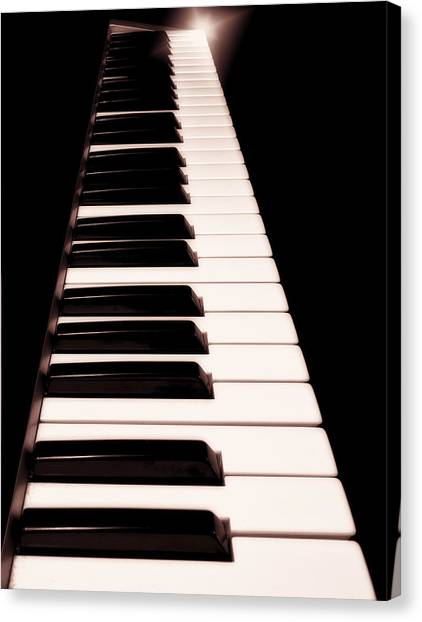 Synthesizers Canvas Print - Keyboard And Star by John Hoesly