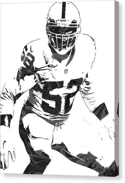 Oakland Raiders Canvas Print - Khalil Mack Oakland Raiders Pixel Art 1 by Joe Hamilton