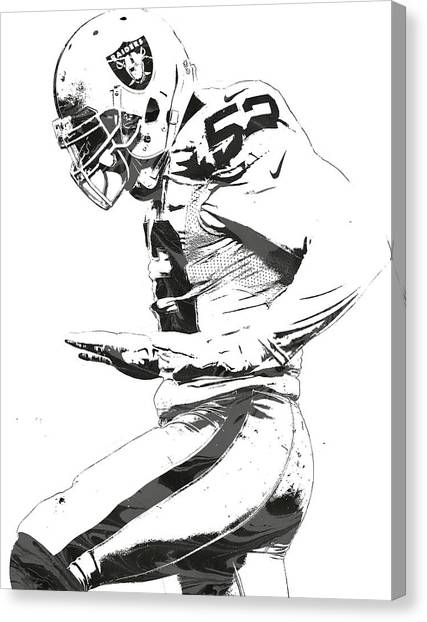 Oakland Raiders Canvas Print - Khalil Mack Oakland Raiders Pixel Art 2 by Joe Hamilton