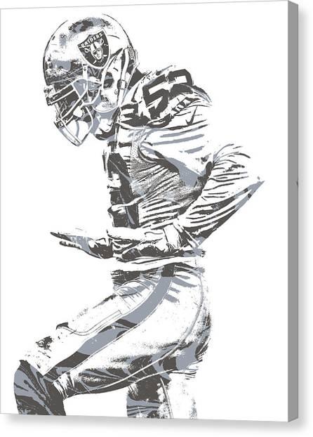 Oakland Raiders Canvas Print - Khalil Mack Oakland Raiders Pixel Art 22 by Joe Hamilton