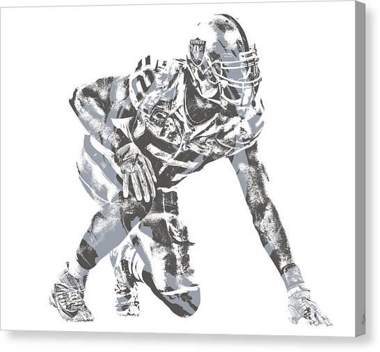 Oakland Raiders Canvas Print - Khalil Mack Oakland Raiders Pixel Art 23 by Joe Hamilton