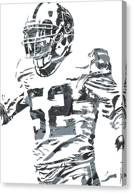 Oakland Raiders Canvas Print - Khalil Mack Oakland Raiders Pixel Art 4 by Joe Hamilton