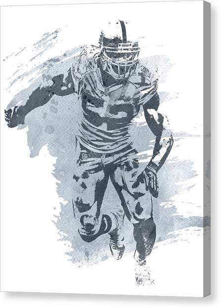 Oakland Raiders Canvas Print - Khalil Mack Oakland Raiders Water Color Art 1 by Joe Hamilton
