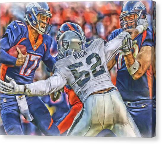 Oakland Raiders Canvas Print - Khalil Mack Raiders Oil Art by Joe Hamilton
