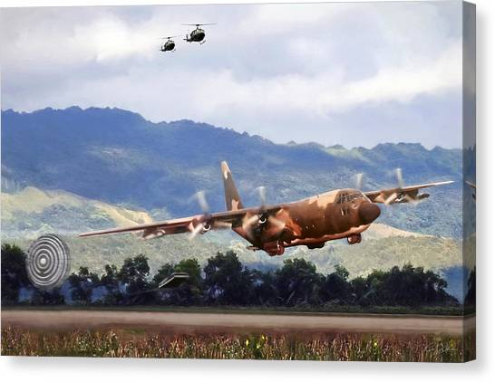 Altitude Canvas Print - Khe Sanh Lapes C-130a by Peter Chilelli
