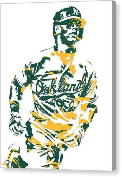 Oakland Athletics Canvas Print - Khris Davis Oakland Athletics Pixel Art 2 by Joe Hamilton
