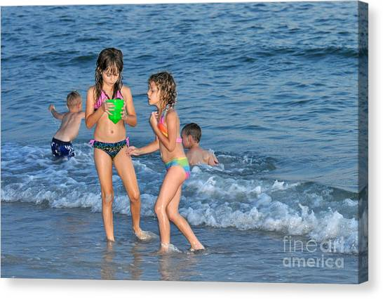 Kids At The Beach Canvas Print by Rose  Hill