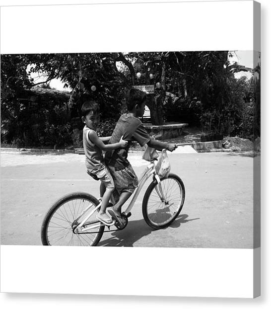 Kids Canvas Print - #kids #bike #youth by Jun Pinzon