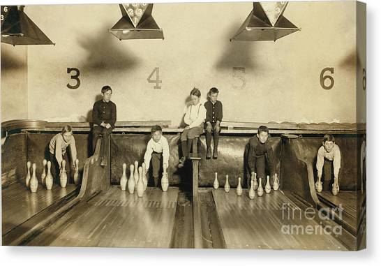 Bowling Alley Canvas Print - Kids Bowling Circa 1900 by Jon Neidert