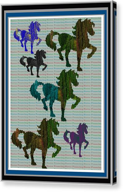 Images For Publishing Canvas Print - Kids Fun Gallery Horse Prancing Art Made Of Jungle Green Wild Colors by Navin Joshi