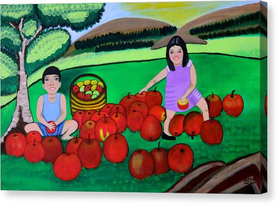Kids Playing And Picking Apples Canvas Print