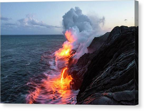 Pacific Coast Canvas Print - Kilauea Volcano Lava Flow Sea Entry 3- The Big Island Hawaii by Brian Harig
