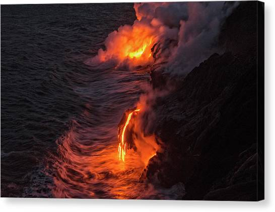 Lava Canvas Print - Kilauea Volcano Lava Flow Sea Entry - The Big Island Hawaii by Brian Harig