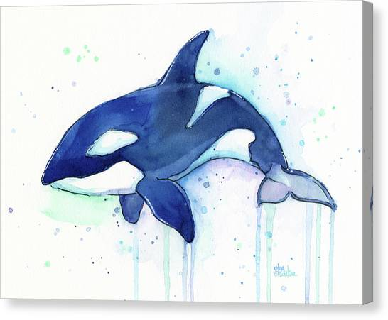 Blue Whales Canvas Print - Kiler Whale Watercolor Orca  by Olga Shvartsur