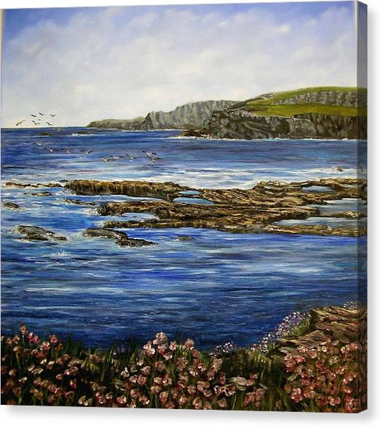 Kilkee Cliffs Ireland Oil Painting Canvas Print by Avril Brand