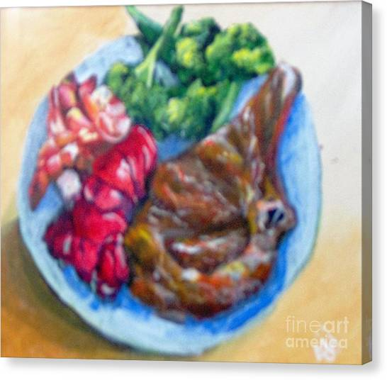 Canvas Print featuring the painting Killer Meal by Saundra Johnson
