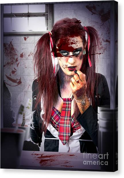 Toothbrush Canvas Print - Killer School Girl In A Murder Cover Up by Jorgo Photography - Wall Art Gallery