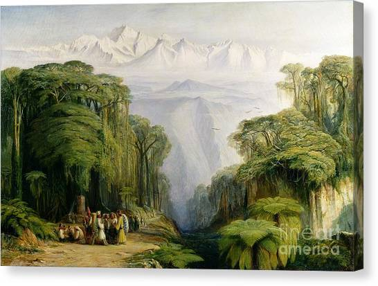 Kangchenjunga Canvas Print - Kinchinjunga From Darjeeling by Edward Lear