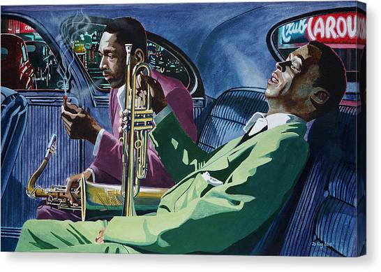 Miles Davis Canvas Print - Kind Of Blue   - Miles Davis And John Coltrane by Jo King