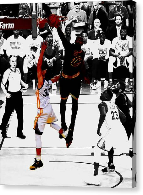 Kyrie Irving Canvas Print - King James Blocks Steph Curry by Brian Reaves