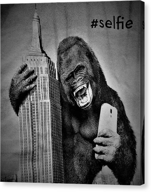 King Kong Selfie B W  Canvas Print