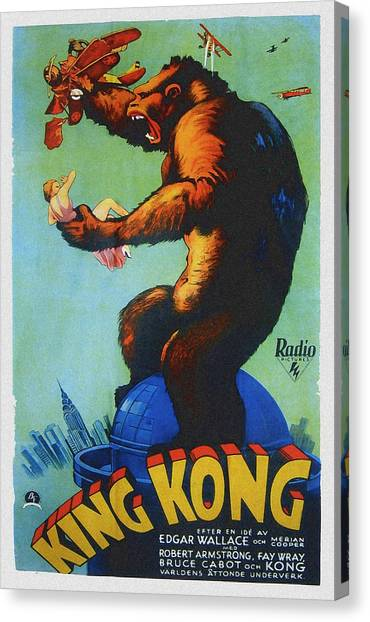 Foreign Ad Art Canvas Print - King Kong, Swedish Poster Art, 1933 by Everett