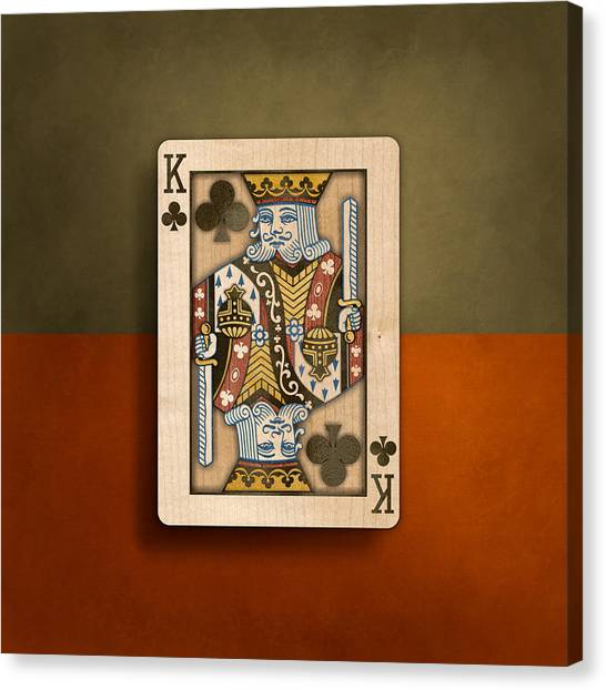 King Of Clubs In Wood Canvas Print