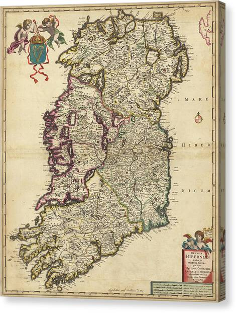 Ancient world map canvas prints page 4 of 76 fine art america ancient world map canvas print kingdom of ireland by nicolaes visscher publicscrutiny Images