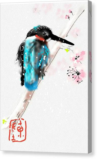 Kingfisher In Late Spring Snow Canvas Print