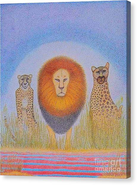 Neo-impresionism Canvas Print - Kings by Assumpta Tafari Tafrow Neo-Impressionist Works on Paper