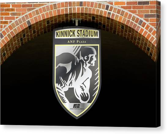 University Of Iowa Canvas Print - Kinnick Stadium Emblem And Seal by Ken Wolter