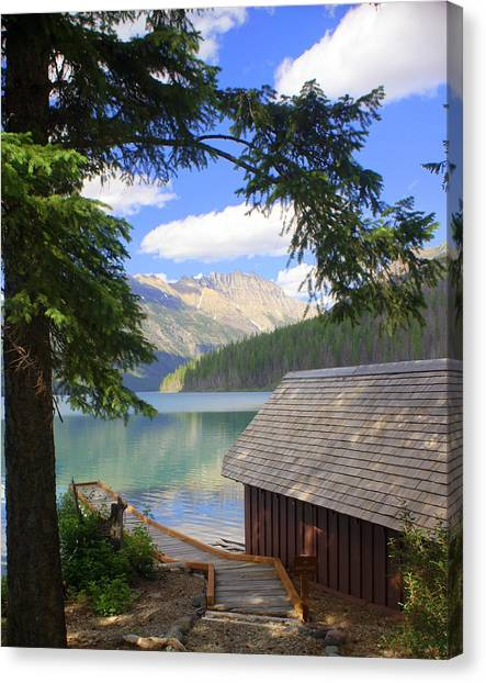 Kintla Lake Ranger Station Glacier National Park Canvas Print