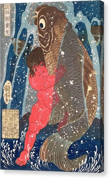 Wrestling Canvas Print - Kintoki Swims Up The Waterfall by Kuniyoshi