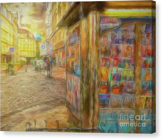Kiosk - Prague Street Scene Canvas Print