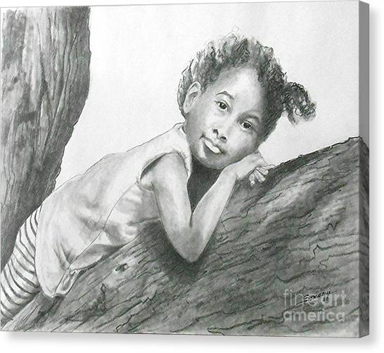 Kirikou, Dreaming -- Portrait Of Little African-american Girl Canvas Print