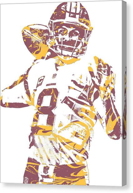 Washington Redskins Canvas Print - Kirk Cousins Washington Redskins Pixel Art 10 by Joe Hamilton