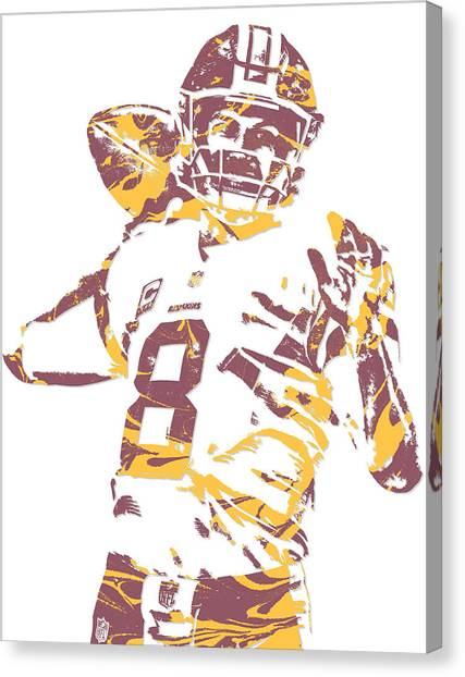 Washington Redskins Canvas Print - Kirk Cousins Washington Redskins Pixel Art 2 by Joe Hamilton