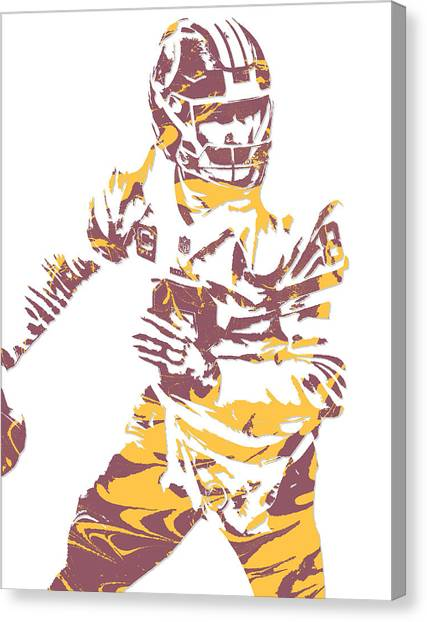 Washington Redskins Canvas Print - Kirk Cousins Washington Redskins Pixel Art 4 by Joe Hamilton